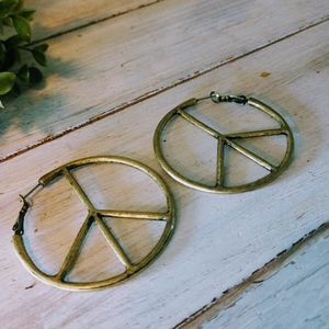 Bronze Peace Sign Hoop Earrings